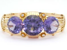 Vintage Estate 18k Yellow Gold Large 100ct Synthetic Alexandrite Sapphire Bangle Bracelet 9 inches long