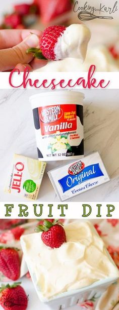 Fruit Dip consists of just three ingredients! Vanilla yogurt, cream cheese and a special pudding mix.Cheesecake Fruit Dip consists of just three ingredients! Vanilla yogurt, cream cheese and a special pudding mix. Just Desserts, Delicious Desserts, Yummy Food, Yummy Yummy, Summer Desserts, Health Desserts, Dessert Dips, Dessert Recipes, Pudding Desserts