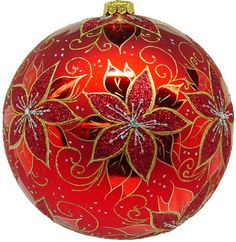 Larry Fraga Designs- Beautiful  Red Poinsettia ball, hand painted, mouth blown glass ornament. LarryFragadesigns.com