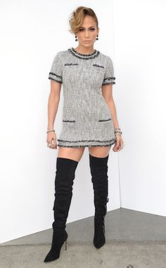 Jennifer Lopez looks sexy in a super short tweed look!