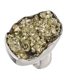 Charles Albert Silver Rocky Pyrite Geode Ring