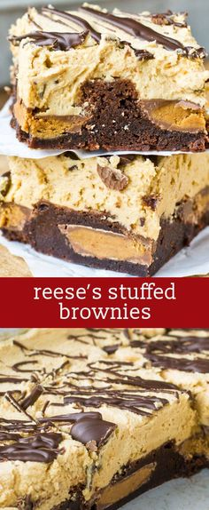 Top the Reese's Stuffed Brownies with this unbelievable peanut butter frosting! homemade brownies / peanut butter brownies via /tastesoflizzyt/ Peanut Butter Desserts, Peanut Butter Brownies, Peanut Butter Cups, Cookie Desserts, Just Desserts, Chocolate Desserts, Chewy Brownies, Homemade Brownies, Homemade Ice