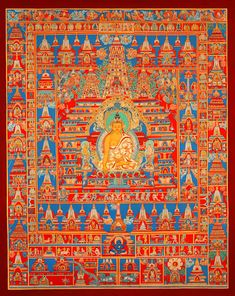 Buddha Shakyamuni, ein Traumthangkas - Buddha Shakyamuni vor dem Mahabodhi-Tempel Mahabodhitemple. Wertvolle buddhistische Thangkas, Statuen und Mandalas. Marvelous buddhist Statues, Mandala and Thangka from Snow Lion.