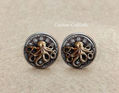 Octopus Cufflinks,Mens Octopus Cufflinks/Silver Steampunk cufflinks,handmade with buttons with an octopus,Sea Cufflinks. Marine Cufflinks