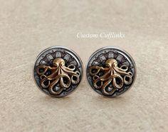 Octopus Cufflinks,Mens Octopus Cufflinks/Silver Steampunk cufflinks,handmade with buttons with an octopus,Sea Cufflinks. Marine Cufflinks