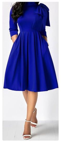 dress royal blue dress midi dress long sleeve dress party dress highwaist d Fashion Mode, Modest Fashion, Women's Fashion Dresses, Look Fashion, Dress Outfits, Womens Fashion, Winter Fashion, Fashion Ideas, Apostolic Fashion