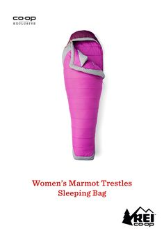 Available only at REI. The 3-season Marmot Trestles 20 Elite sleeping bag is designed to keep women cozy by putting extra insulation in key areas so you wake up happy after a night on the trail. It has a women-specific fit with a hood that envelops your head in warmth, a draft collar to seal out chill and a footbox to increase the insulation and room for your feet. Pick one up before your next camping trip.