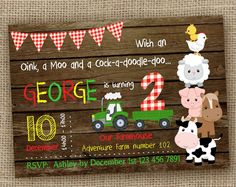 Barnyard Birthday Invitation, Wood/Chalkboard Farm Invitation, Farm Animals Birthday, Barnyard Party, Printable DIGITAL Invite