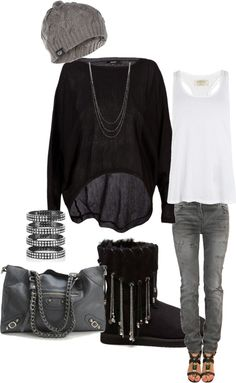 Black and Grey, created by lashelle-johnson on Polyvore