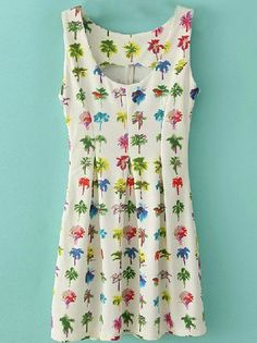 White Sleeveless Cocoanut Print Pleated Sundress - Sheinside.com