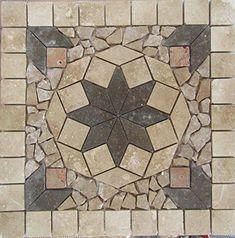 "Stone Tile Indoor or Outdoor 18 "" Floor or Wall Art Medallion Mosaic Stone Deals… Mosaic Diy, Mosaic Garden, Mosaic Crafts, Mosaic Projects, Mosaic Tiles, Mandala Pattern, Mosaic Patterns, Paving Pattern, Entryway Flooring"