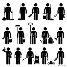 Vektor: Cleaner Man with Cleaning Tools and Equipments Pictogram