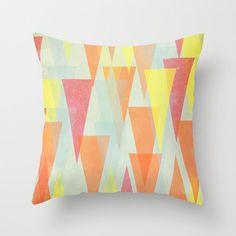 Pillow Cover, Triangles Pillow, Throw Pillow, Vibrant, Orange, Pink, Nursery Room Pillow, 16x16 Pillow Decorative, Home Decor, #homedecor, #throwpillow #pillow