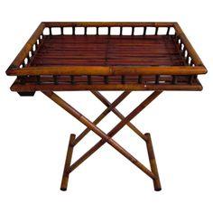 Vintage Bamboo Folding Tray Table