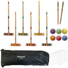 Deluxe Croquet Set Croquet Lawn Game Set with Travel Case#case #croquet #deluxe #game #lawn #set #travel Games To Play Outside, Outdoor Camping Shower, Bonfire Pits, Large Group Games, Giant Jenga, Hammock Swing Chair, Bag Toss Game, Rv Accessories, Lawn Games