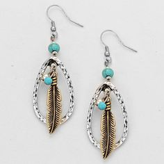 These earrings are cute, chic, and fashionable.  They feature a teardrop shape with feather and stone accent.  They would pair nicely with a jeans and tee shirt outfit or dress them up with a little black dress.  BOHO CHIC SILVERTONE LARGE TEARDROP FEATHER DANGLE EARRINGS $9.99 www.nanascountryrusticshop.com www.facebook.com/nanascountryrusticshop