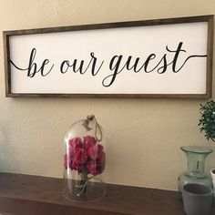 Be Our Guest Wood Sign  38x14x2 Solid wood  Mitre frame in brown Perfect for a guest bedroom, living room