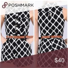 Casual romper Sleeveless diamond print romper with pockets, belt and buttons up the front. 95% polyester 5%spandex. True to size. 💜Price firm 🙅 trade Pants Jumpsuits & Rompers