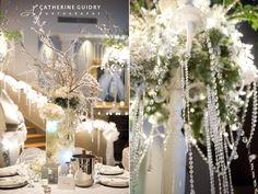 Wedding Reception Details, White Wedding, Winter Wonderland Wedding, Winter Centerpieces  [www.catherineguidry.com/blog]