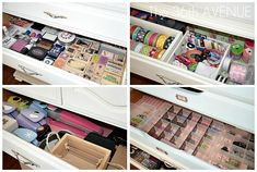 Each of the drawers have specific materials inside: ribbons, stamps, embelishments… Craft Storage Cabinets, Dresser Organization, Craft Room Storage, Craft Organization, Organizing Drawers, Drawer Storage, Craft Rooms, Small Dresser, Polka Dot Walls