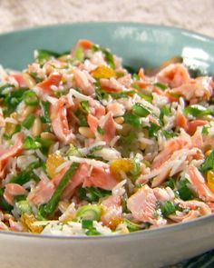 Tangy-Sweet Salmon and Rice Salad - I used canned salmon and leftover cocunut rice I made last night and it is so good!