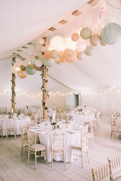 Marquee Lanterns Festoon Light Pretty Light Pink Country House Wedding jonathanryderphot...