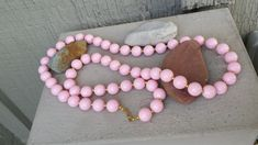 """Long 30"""" Feminine Soft Pastel Pale Pink Opaque Acrylic Lucite Plastic Round Bead 30 inch Necklace Jewelry Jewellery, Long Pale PInk Necklace by TheFoxandFilly on Etsy"""