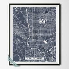 COLORADO SPRINGS, COLORADO STREET MAP PRINT by Voca Prints! Modern street map art poster with 42 color choices. Perfect for anyone who loves to travel or is away from home.