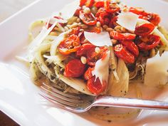 Zucchini Noodles With Roasted Tomatoes, Pesto, and Pine Nuts