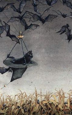 Straight on Till Morning by Maggie Vandewalle Halloween Bats, Halloween Make Up, Halloween Costumes, Lowbrow Art, Witch, October, Insects, Night, Illustration Art