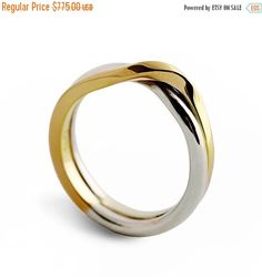 ON SALE - LOVE Knot Two Tone wedding band, unique wedding ring, alternative wedding ring, White and Yellow Gold Ring
