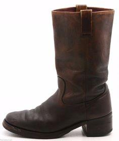 Unbranded Mens Cowboy Boots Size 10 brown Leather Western Vintage Campus #Unbranded #CowboyWestern @ebay