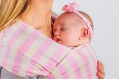 ACK Wrap 100% Organic, US Grown Cotton Pink and White Stripe #sleepingbaby #sleepingbeauty #prettyinpink #babywearing #babywrap #babycarrier #babywrapcarrier