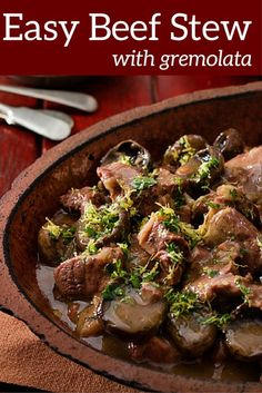 This easy recipe for Beef Stew with Gremolata can be prepared in the crockpot, slow cooker or Wonderbag. The gremolata adds such great freshness. Best Crockpot Recipes, Grilling Recipes, Slow Cooker Recipes, Beef Recipes, Recipies, Hamburgers, Restaurant Fast Food, Pork Ragu, Easy Beef Stew