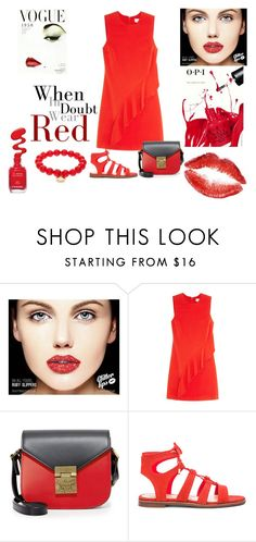 """Feeling Red!!"" by stylediva20 ❤ liked on Polyvore featuring OPI, A.L.C., MCM, Vince Camuto and Sydney Evan"