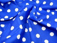 """45"""" wide Spotty Polycotton Dress Fabric Royal Blue/White Spots - per metre Prestige Fashion UK Ltd http://www.amazon.co.uk/dp/B0089V73LQ/ref=cm_sw_r_pi_dp_WFsUwb0BC4FN5"""
