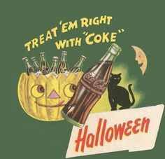 Halloween Coke Coca cola vintage High Quality Metal Magnet 4 x 4 inches 9295 Vintage Halloween Images, Retro Halloween, Halloween Signs, Halloween Items, Vintage Holiday, Fall Halloween, Happy Halloween, Halloween Decorations, Vintage Advertisements