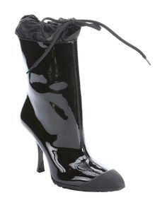 Miu Miu black patent leather pointed toe midcalf rain boots-coolest rain boot ever!!