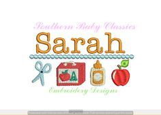 Back to School Row Lunch Box Scissors Glue Apple Fall Autumn  Design File for Embroidery Machine Instant Download by SouthernBabyClassics on Etsy