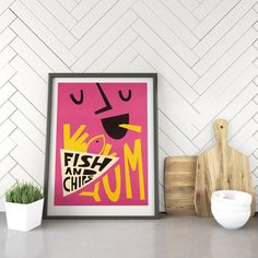 A tasty Fish & Chips print.A truly beloved Friday night tradition, there's nothing better than settling down in front of the telly with some hot and fresh Fish & Chips. This retro typographic print is perfect for a kitchen or dining room.This print also makes a great set with our other retro kitchen prints, available on the Fox & Velvet storefront.This listing is for a high quality unframed giclée print.Our prints are printed using professional giclée printers. We use beautiful smo Kitchen Posters, Kitchen Prints, Dining Room Wall Art, Wall Art Decor, Fish And Chip Shop, Bold Typography, Fish Print, Fish And Chips, Giclee Print