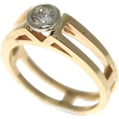 14k Yellow Gold Diamond Solitaire Engagement Ring. - found at www.rubylane.com @rubylanecom