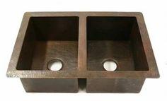 CK-3322DB Hand Hammered Double Bowl Copper Kitchen Sink 50/50 Undermount or Drop In- 16 Gauge