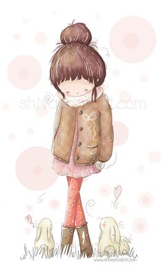 Children Illustration  Cute Girl Walking In by ShivaIllustrations, $10.00