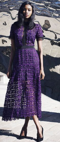 #summer #scallop #trend #outfits |  Purple Scallop Edge Lace Dress
