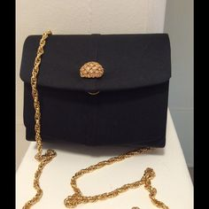 "Black evening bag by Inge Christopher Beautiful evening bag with a gold and crystal clasp by "" Inge Christopher""   The bag has two sides Inge Christopher Bags Mini Bags"