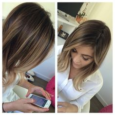 LA Hair Colorist - THIS! This Cut, This color. Perfect bob / lob for fine hair. Gorgeous brunette to blonde color.