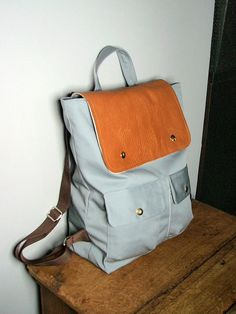 2ccc1b458a City Backpack in Gray Canvas  Brown Leather School Bag Victoria Secret  Backpack