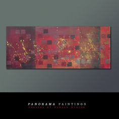 Landscape Abstract painting   Red on REd door PanoramaPaintings, $419.00