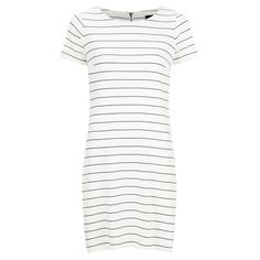 VILA Women's Tinny Short Sleeve Dress - Snow White ($36) ❤ liked on Polyvore featuring dresses, white, short sleeve t-shirt dress, tee shirt dress, vila, white tee dress and tee dress