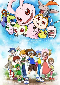 Digimon Adventure: Yokomon, Tanemon, Koromon, Motimon, Bukamon, Tsunomon, Nyaromon and Tokomon with Joe, Koushiro (Izzy), Takeru (T.K.), Yamato (Matt), Taichi (Tai), Sora, Mimi and Hikari (Kari)